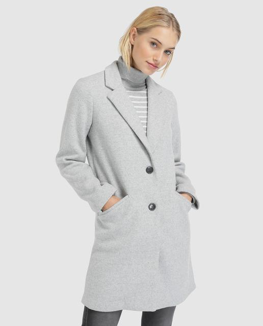Abrigo de mujer gris con solapa 5d88b638f5ab