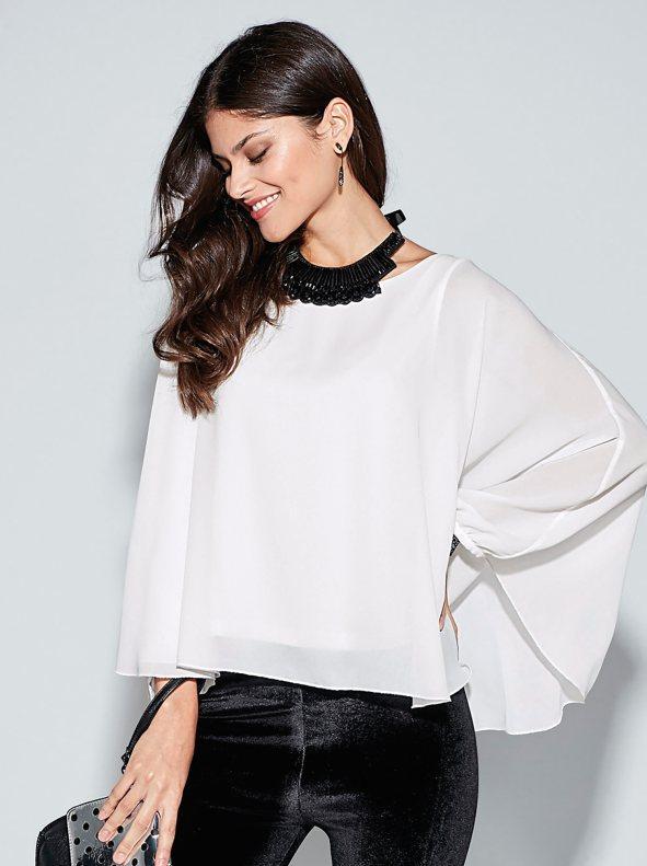 1568f4a58a04 Blusa mujer tipo capa fluida con camiseta interior crudo xl. Venca