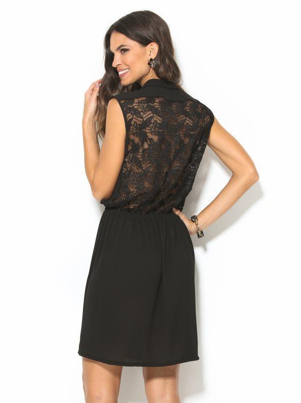 7bd90c79f167 Vestido negro de fiesta con espalda de blonda negro s