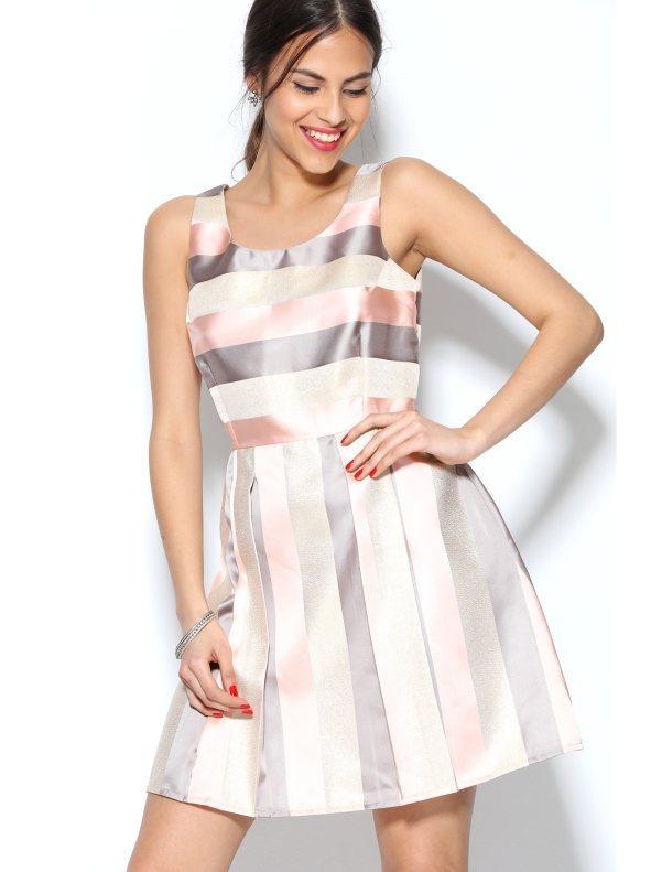 precio favorable bastante baratas oficial Vestido fiesta sin mangas con hilos metalizados rosa rayas 38