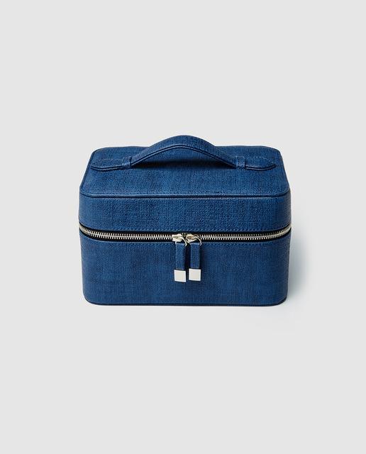 420b2d9a1 Joyero en azul con cierre de cremallera
