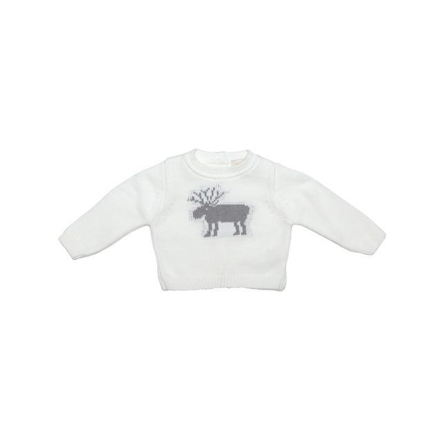 953c261c2 Jersey de bebé niño blanco con bordado de reno