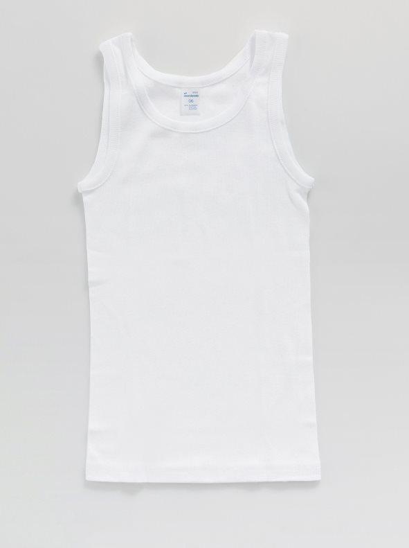 6fa5eb582 Camiseta niño de tirantes de algodón blanco 04. Abanderado