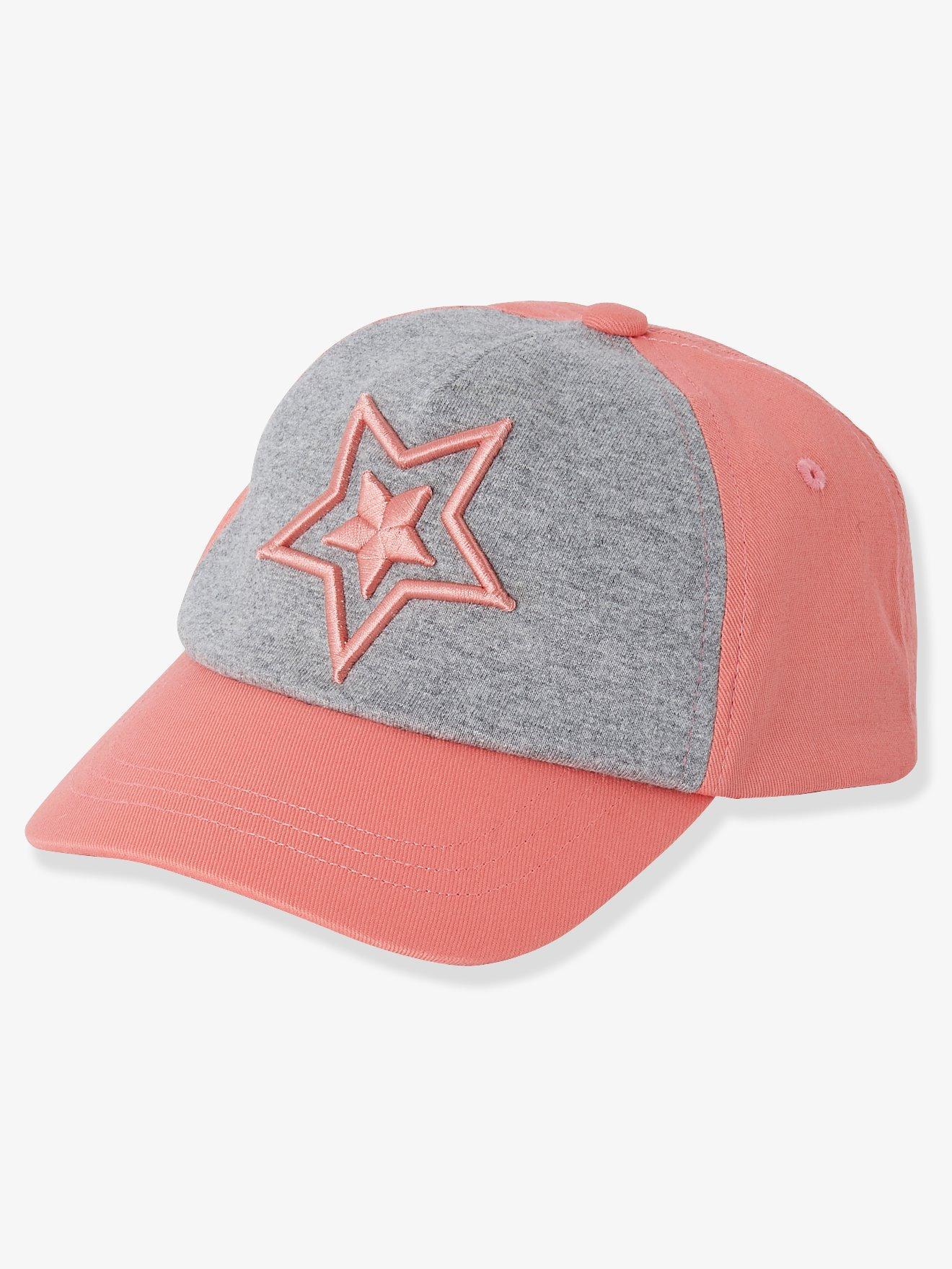 Gorra bicolor para niña con bordado de estrella rosa medio liso con motivos 8db4c5e245f