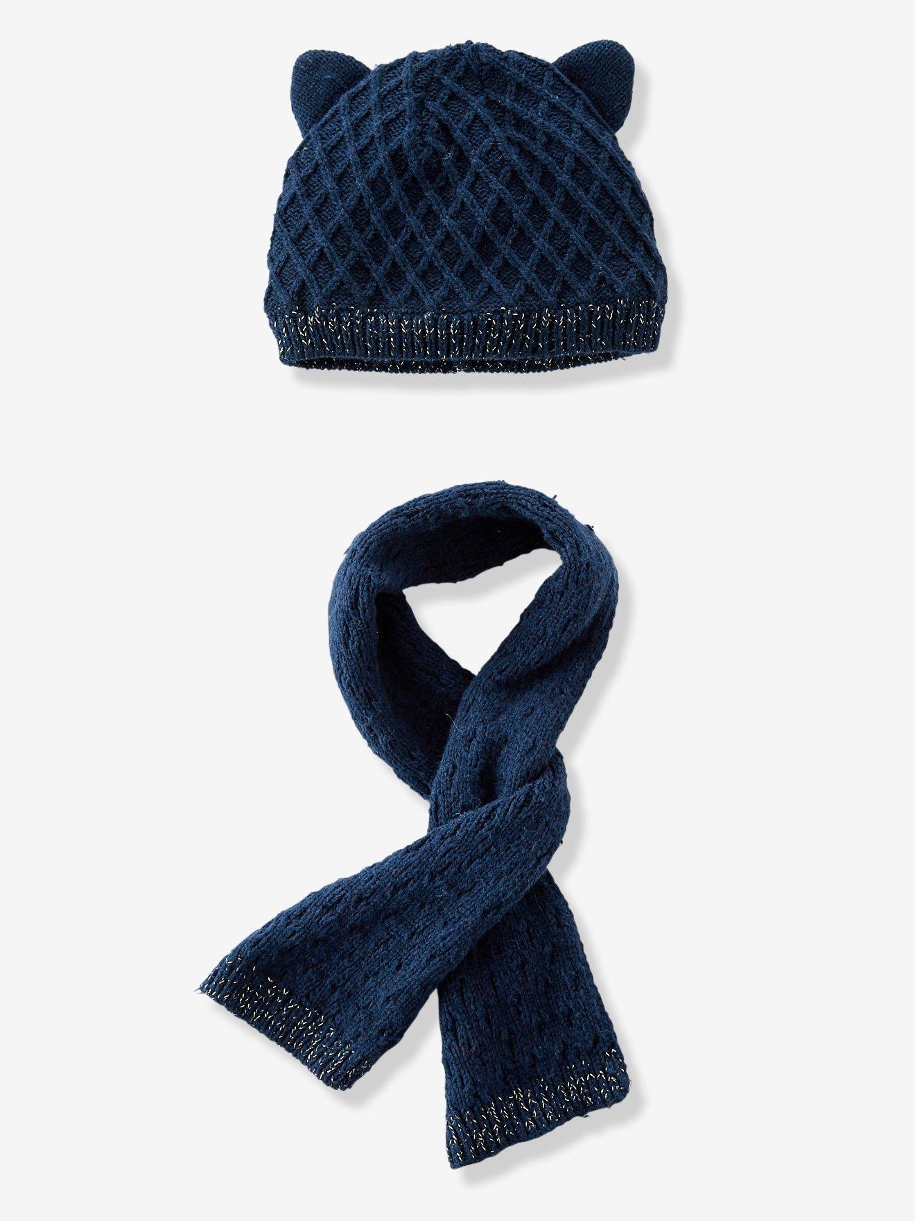 74d61bbc Conjunto de gorro + bufanda de punto tricot con rombos y forro para bebé  niña azul oscuro