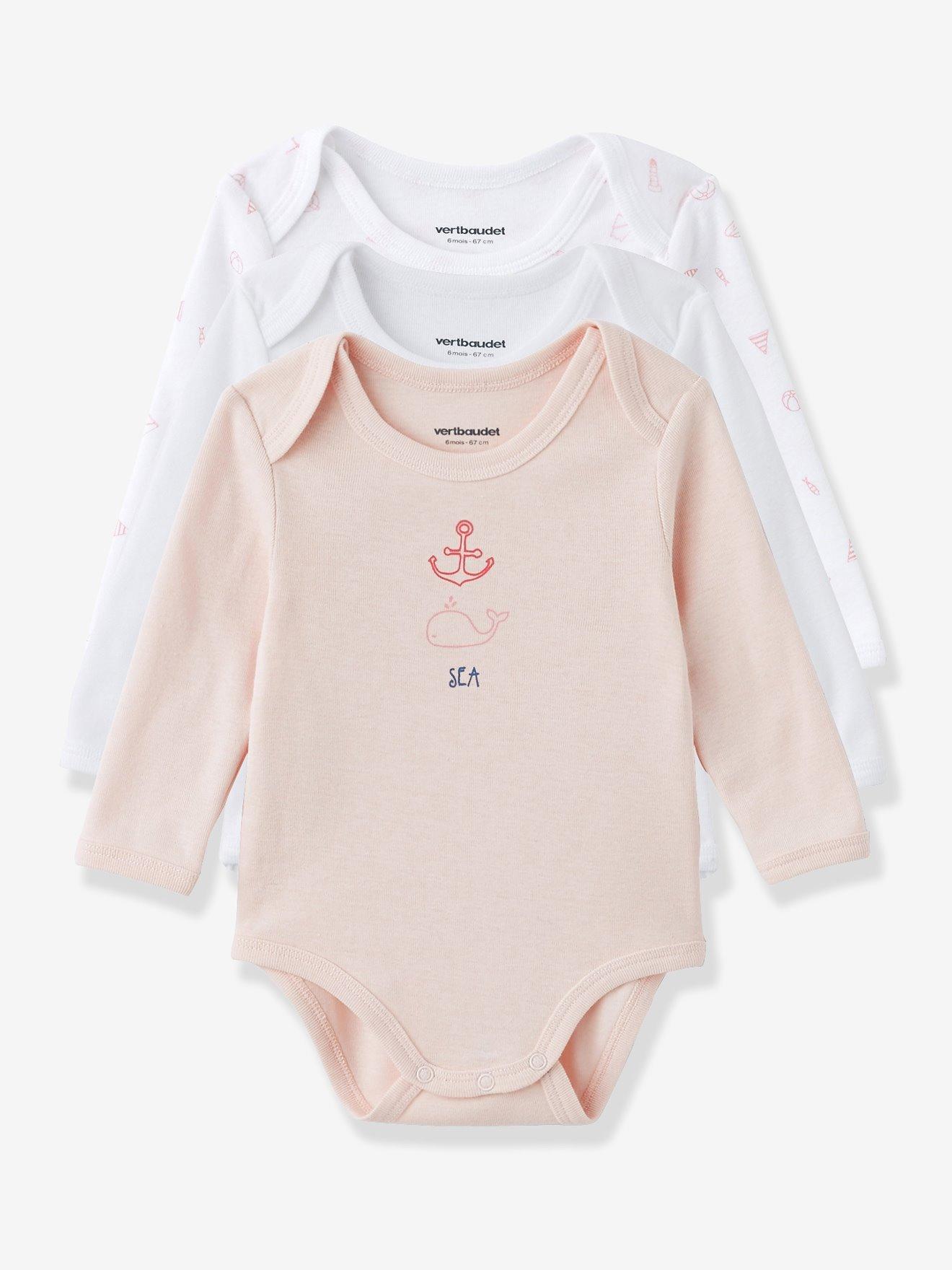 Lote de 3 bodies de manga larga color con motivo marinero colección bio bebé  rosa palido 2a86f6cd8828