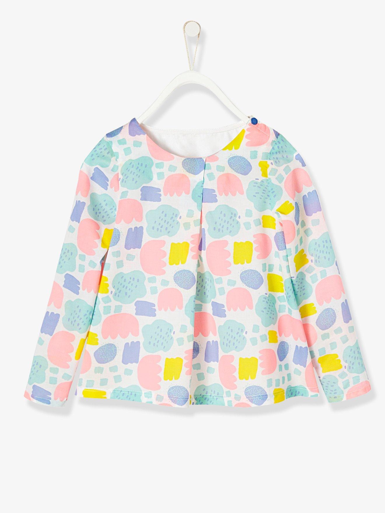 94afa8505 Blusa estampada para niña de dos tejidos blanco claro estampado