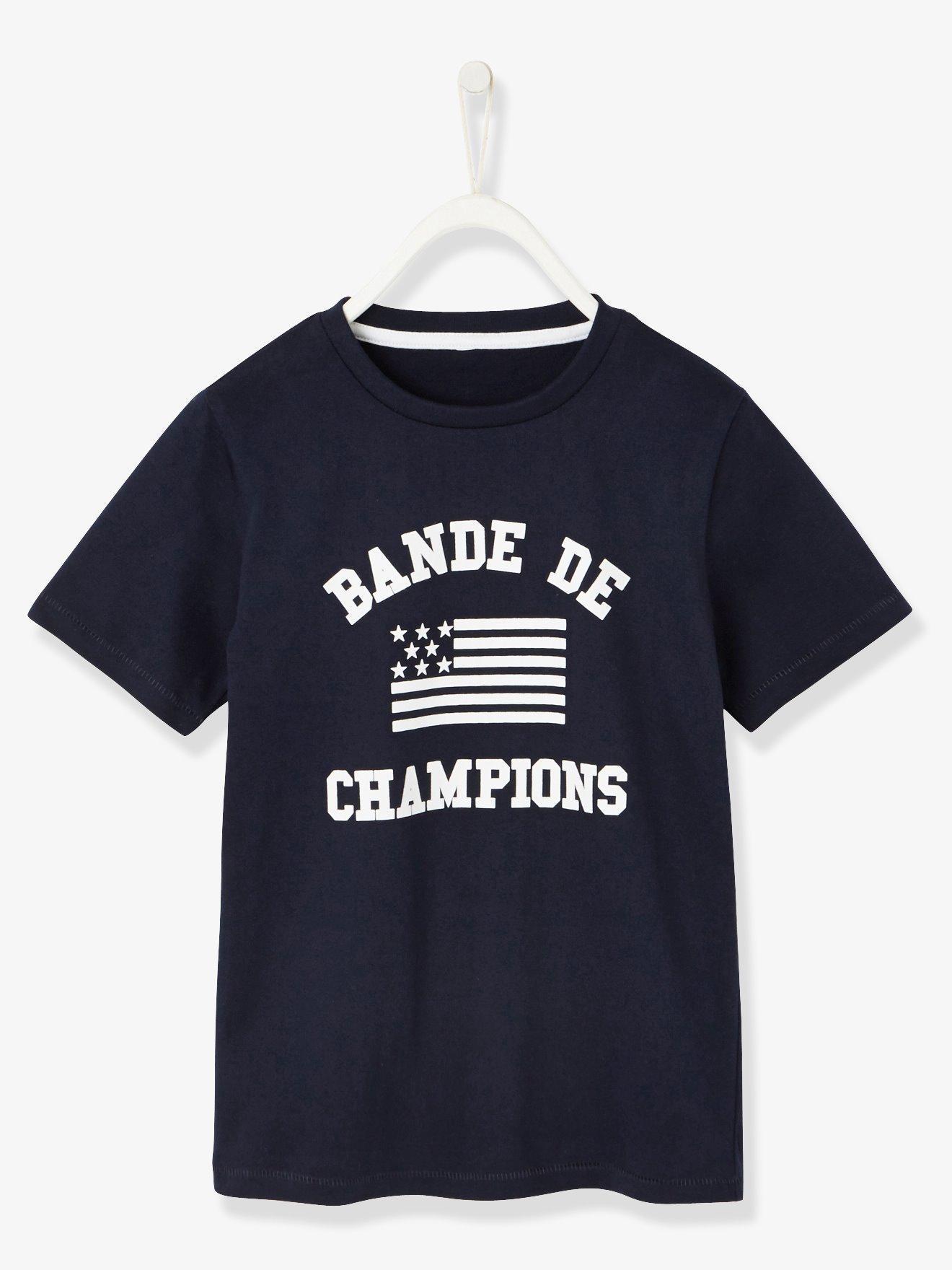 24c89e91f4a Camiseta para niño con motivo bande de champions azul oscuro liso con  motivos. Vertbaudet