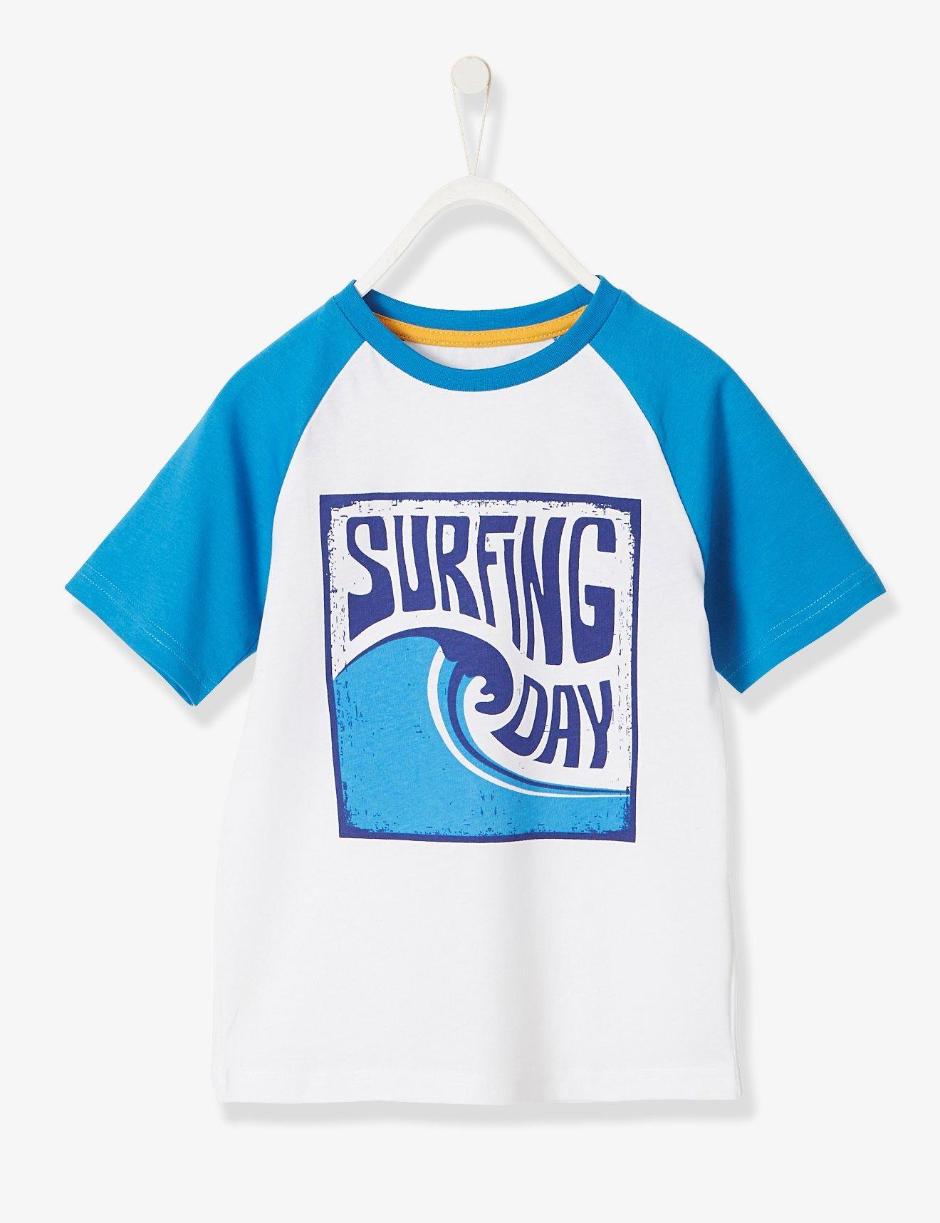 6707e5886 Camiseta bicolor para niño con motivo surf blanco claro liso con motivos.  Vertbaudet