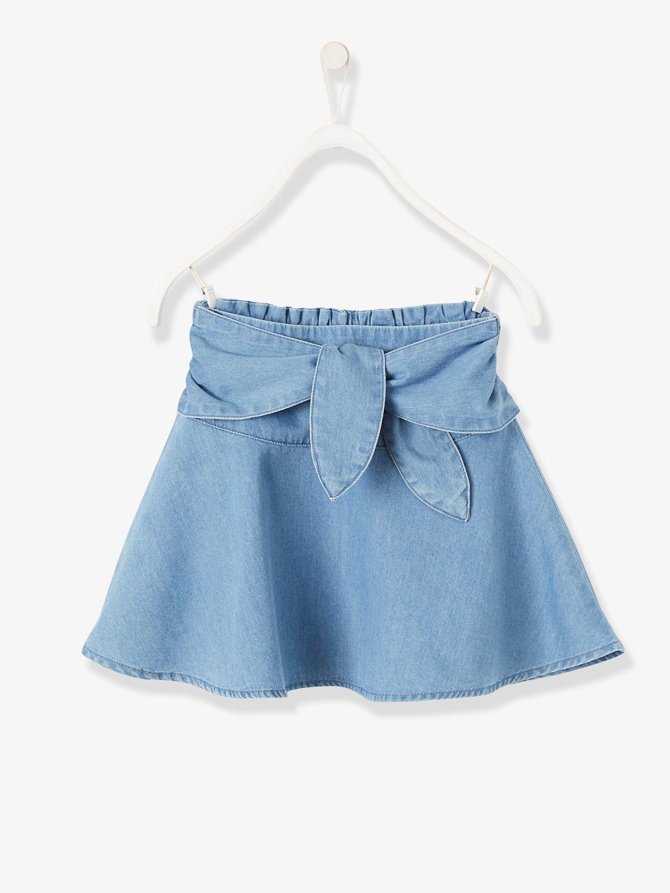 2807167e0 Falda niña denim con cinturón para anudar azul oscuro lavado