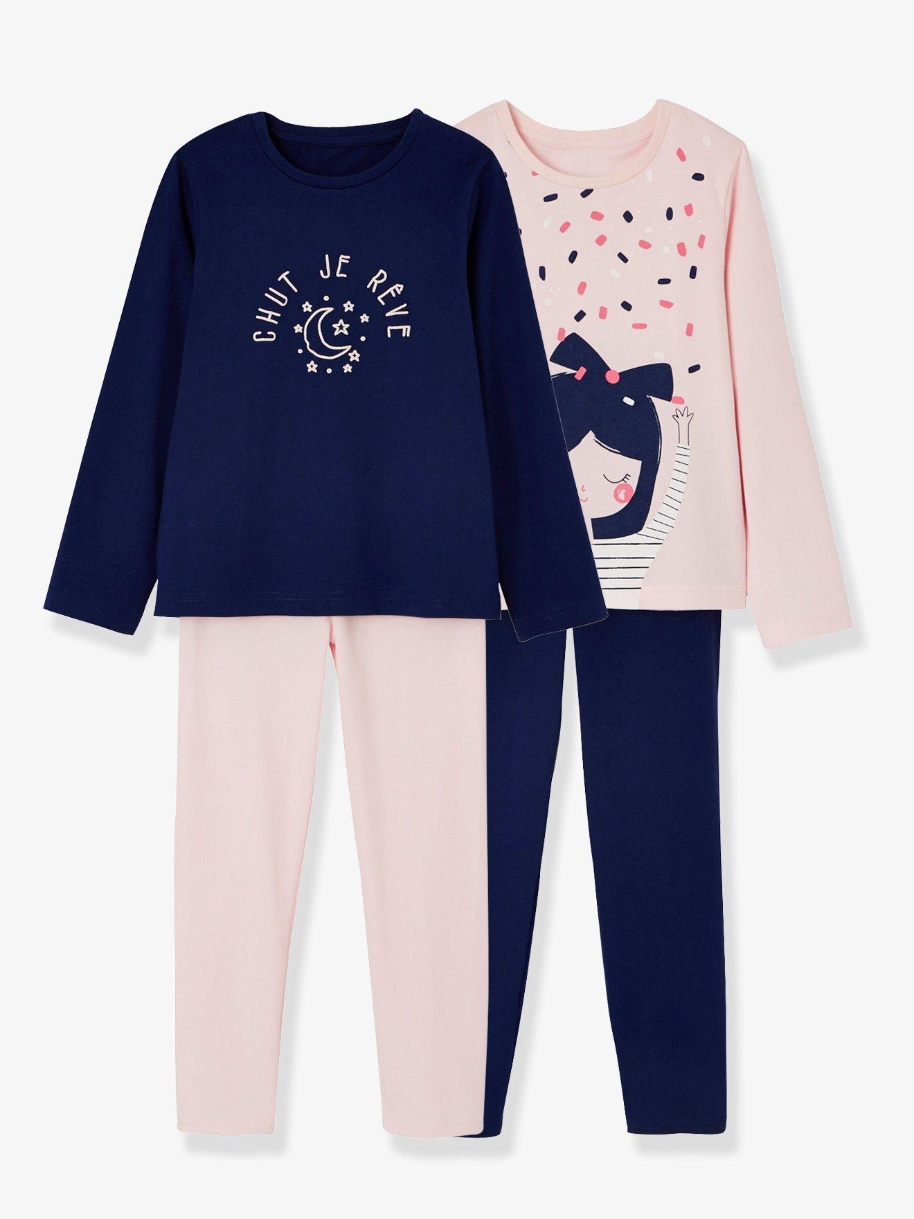 4961844ad Lote de 2 pijamas combinables para niña rosa claro liso con motivos