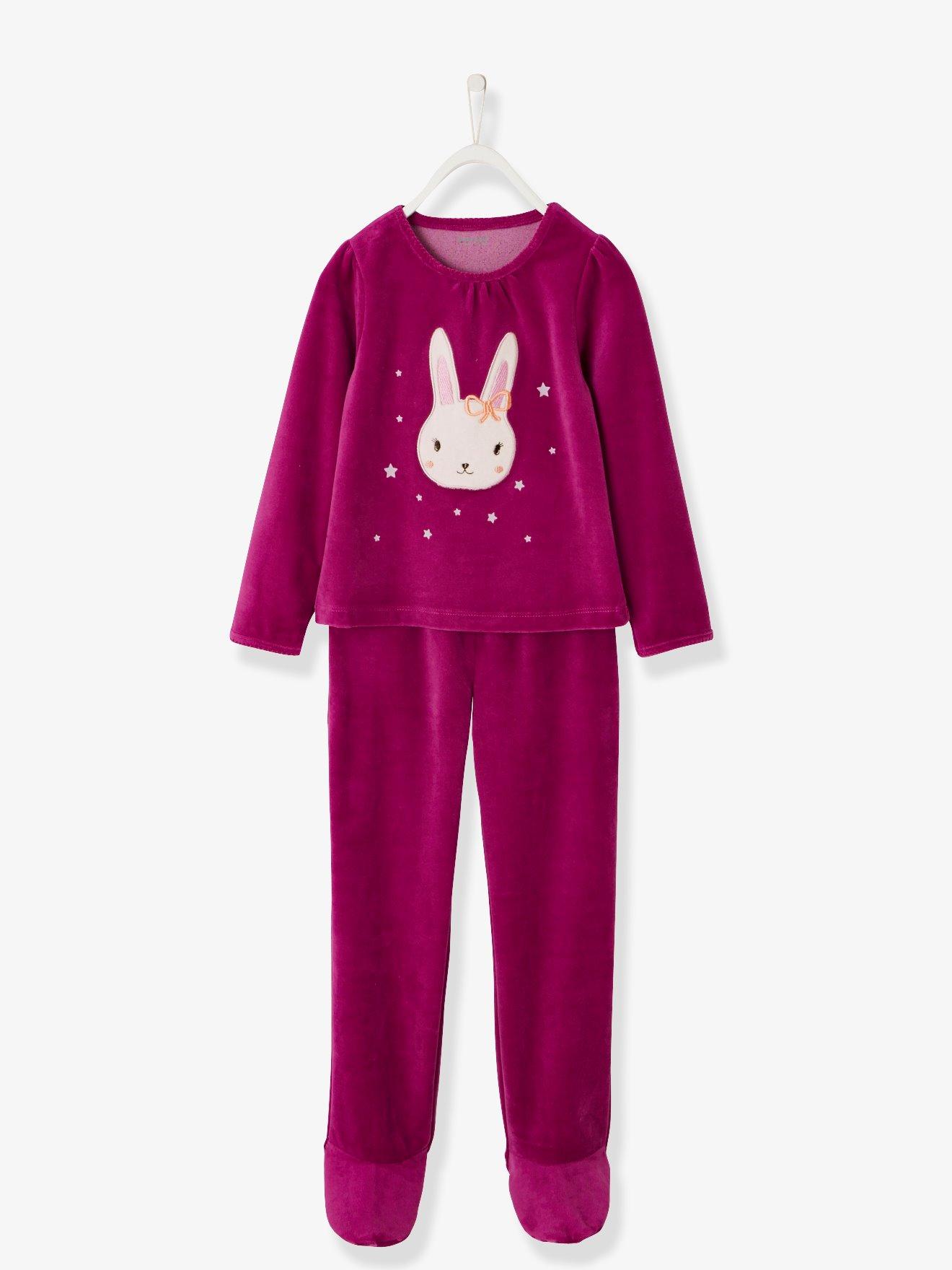 bffaabd12 Pijama de terciopelo con pies niña rosa oscuro liso con motivos