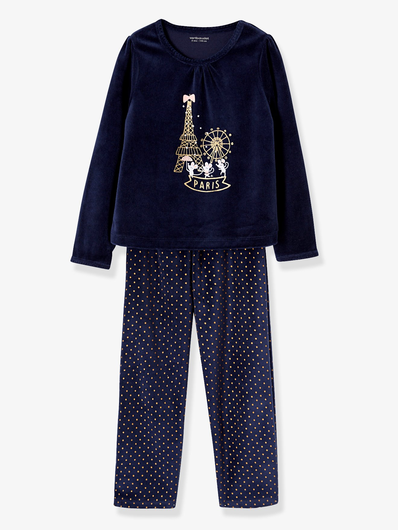 23c120e6d Pijama de terciopelo niña azul oscuro liso con motivos