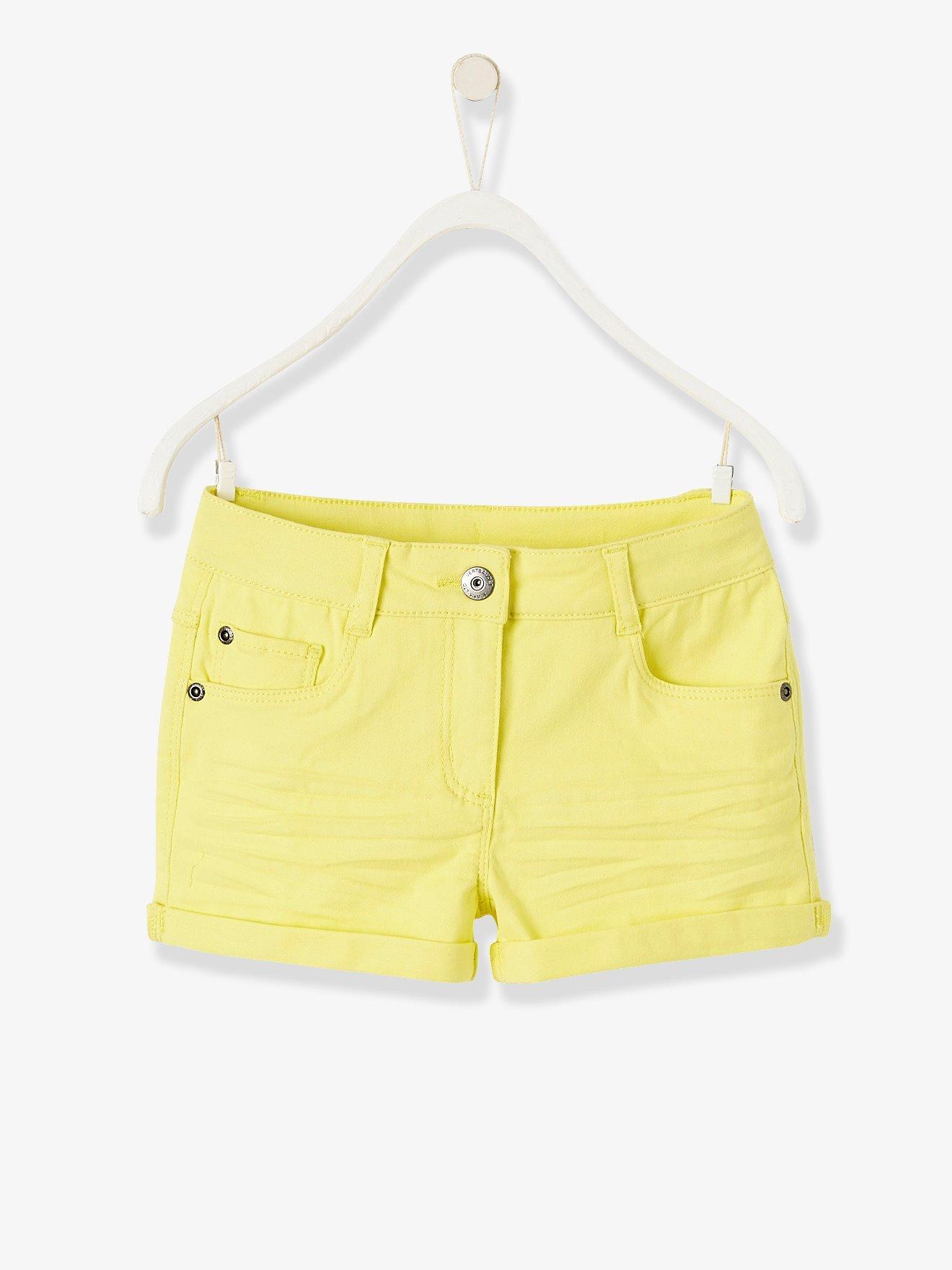 7d3f285de Short para niña de sarga stretch amarillo claro liso. Vertbaudet