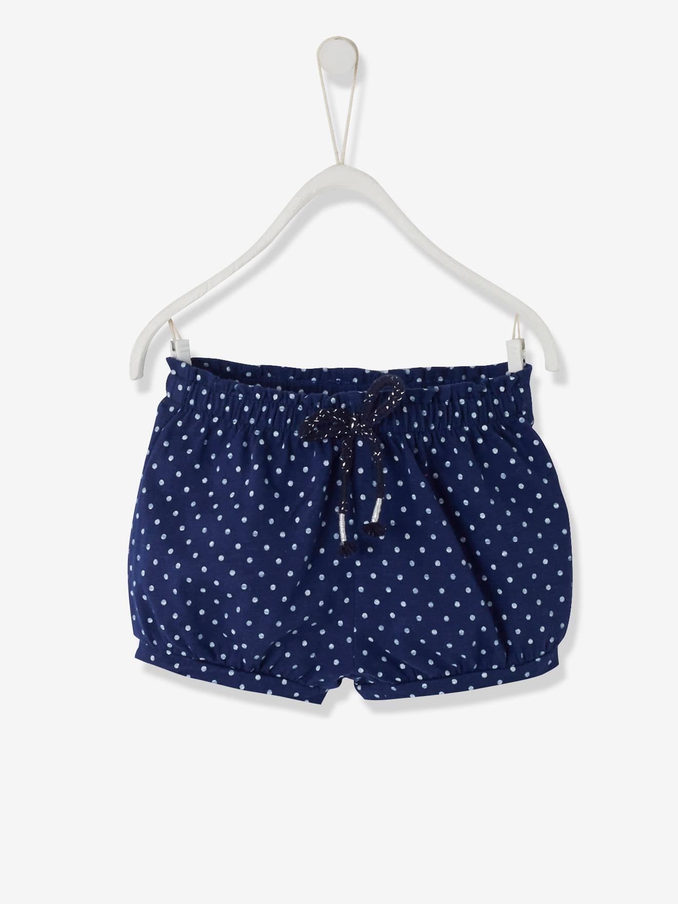 4510d3417 Short para bebé niña de punto azul oscuro estampado. Vertbaudet