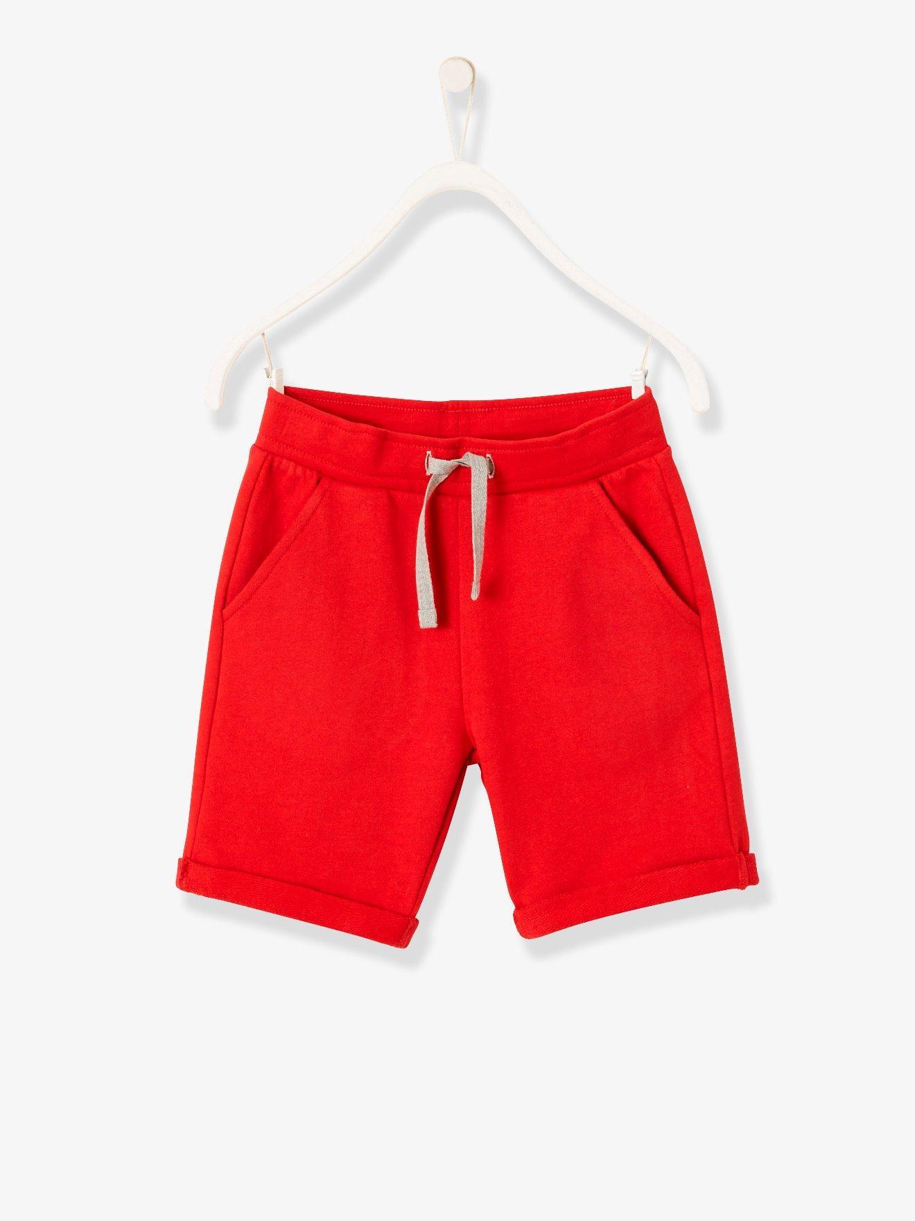 6b664da2c Bermudas niño de felpa rojo oscuro liso. Vertbaudet