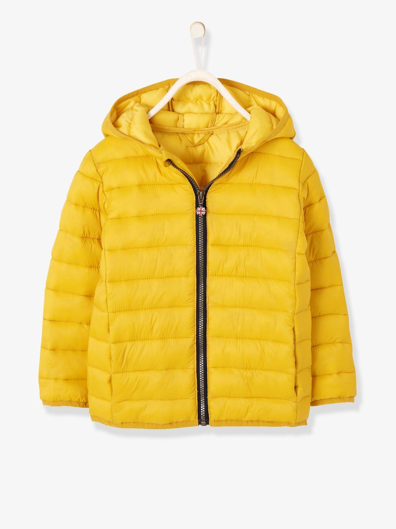 1f02908438b Chaqueta acolchada ligera para niño, con capucha amarillo oscuro liso