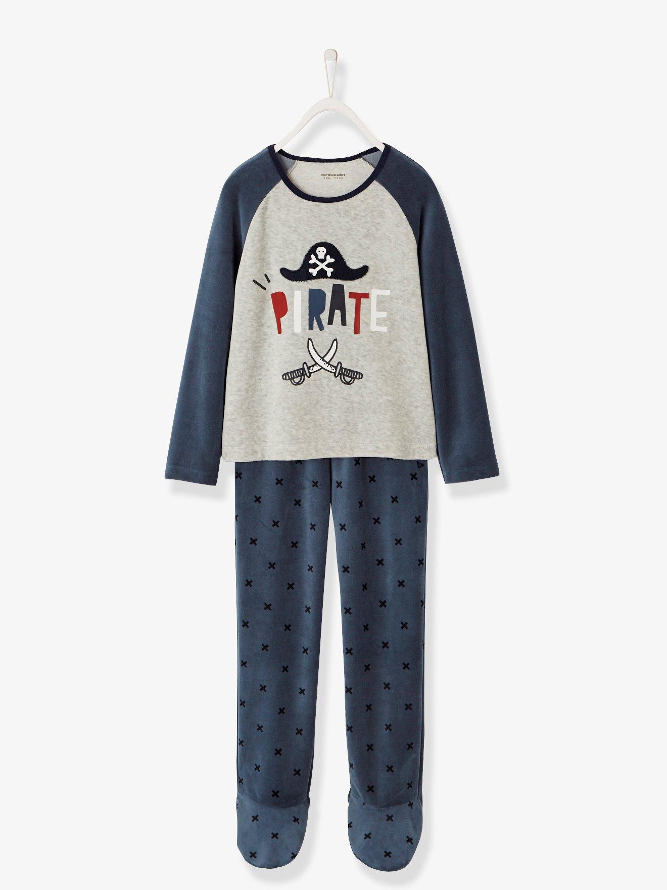 Pijama de terciopelo niño con pies azul oscuro liso con motivos 99262236c978