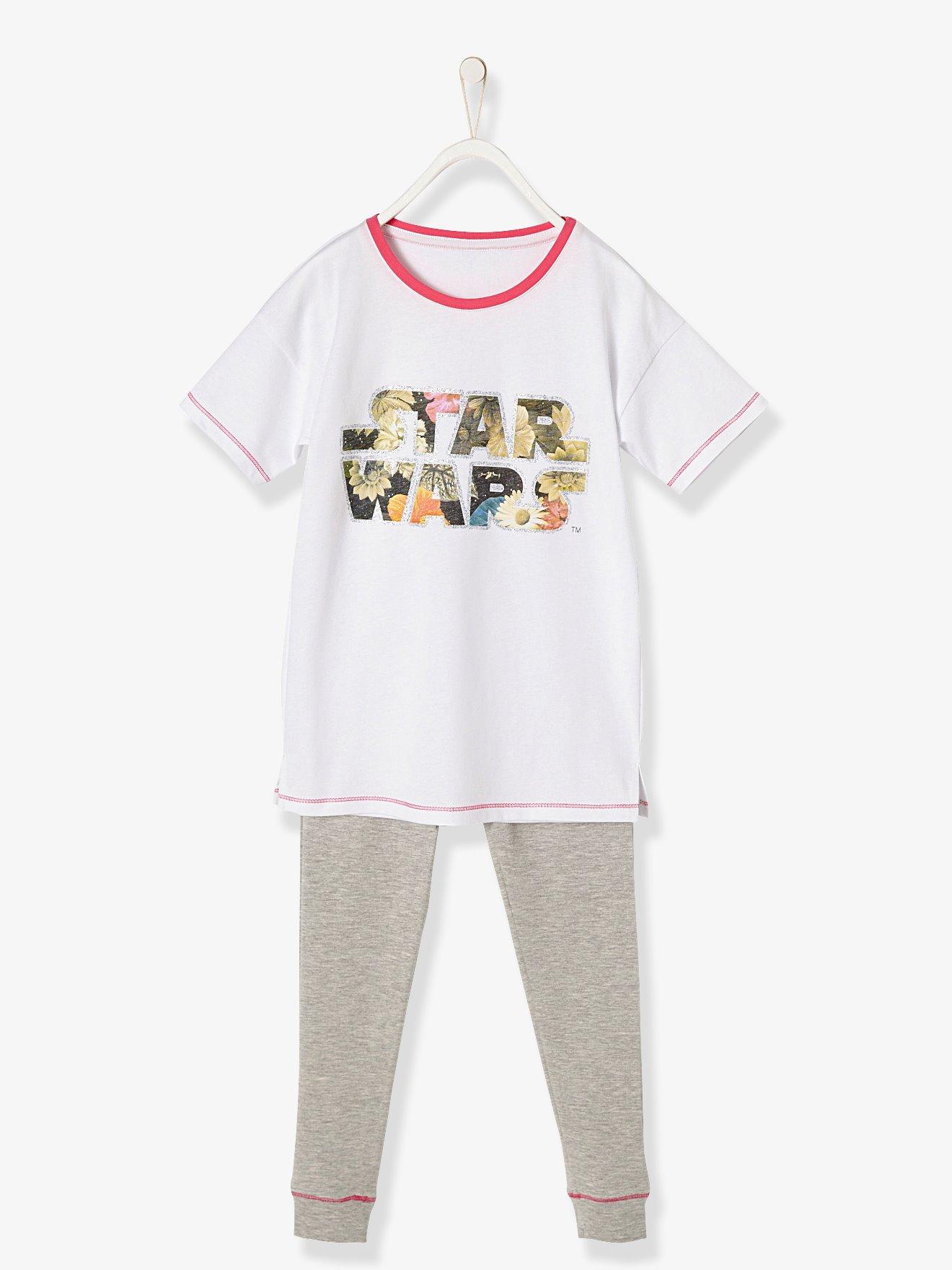 ad25a6a7f Pijama estampado niña star wars® blanco claro liso con motivos