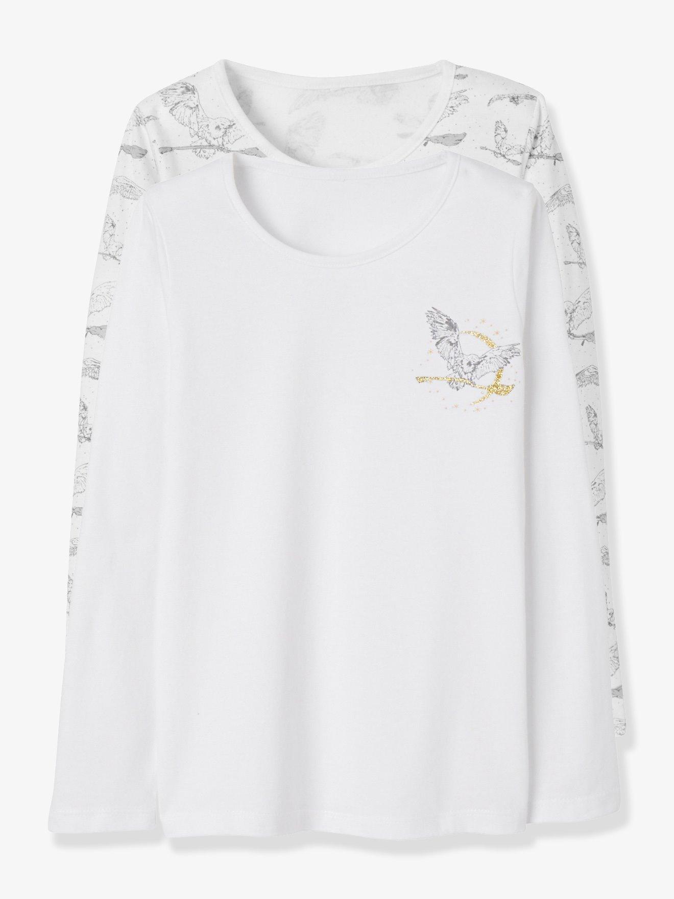 f05987f75 Lote de 2 camisetas para niña harry potter® de manga larga blanco medio  liso con motivos. Vertbaudet