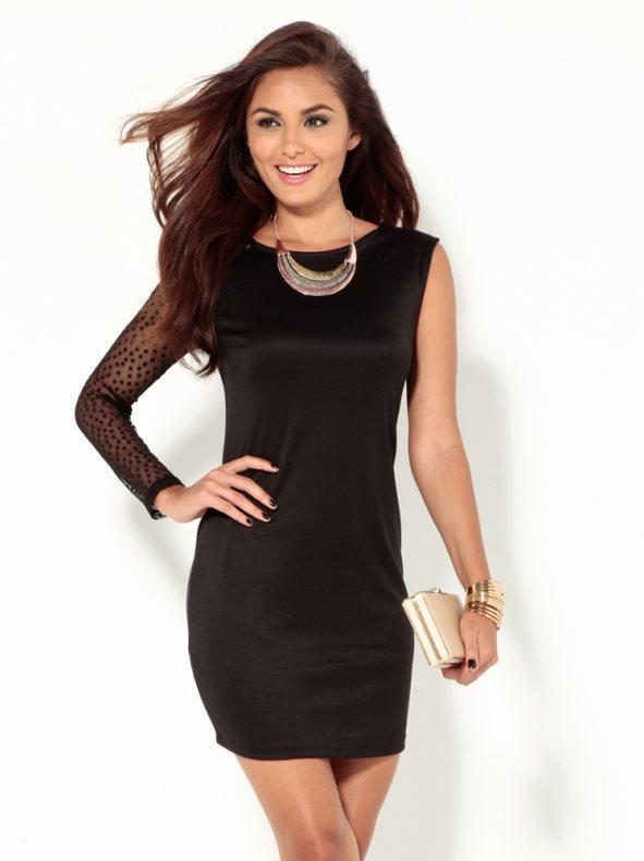 d002a1e12 Vestido de fiesta mujer de punto con manga topos negro m