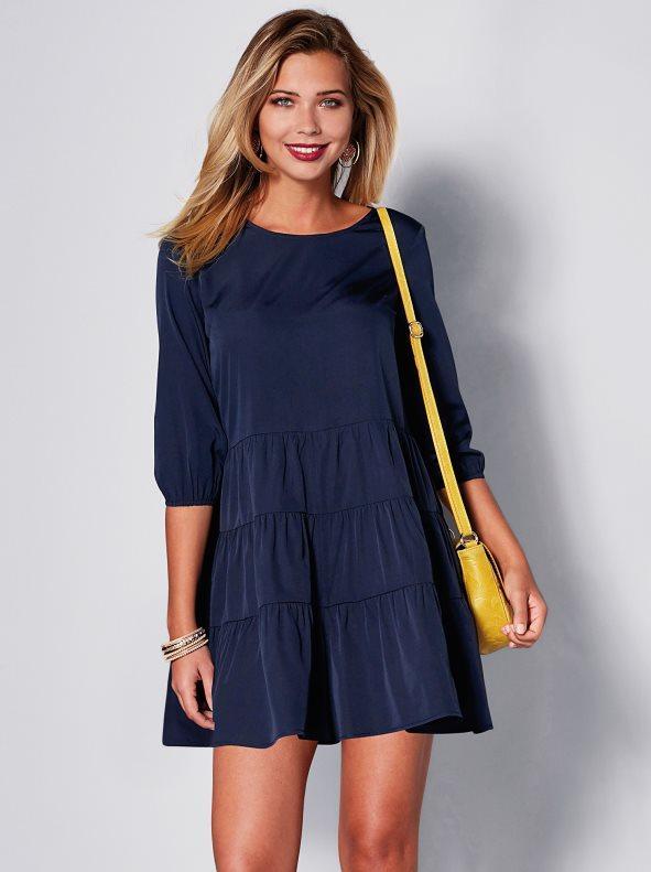 22f409eacbd Mono corto liso de crepe con efecto vestido azul marino s