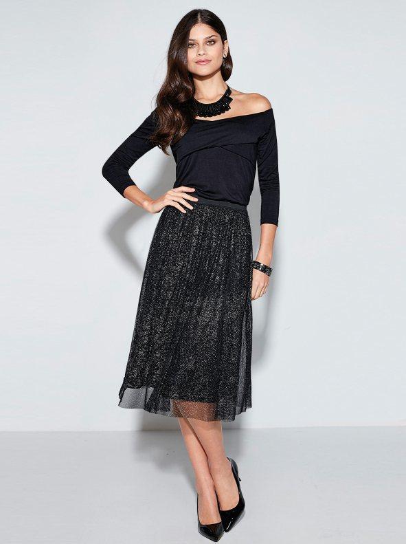 ad5b4b78b Falda de fiesta mujer de tul elástico metalizado negro s