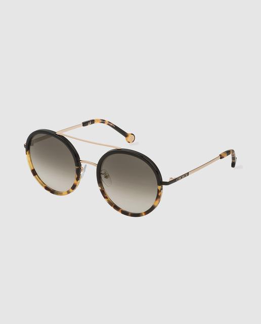 1841e50063 Gafas de sol de mujer redondas de acetato bicolor en negro y havana