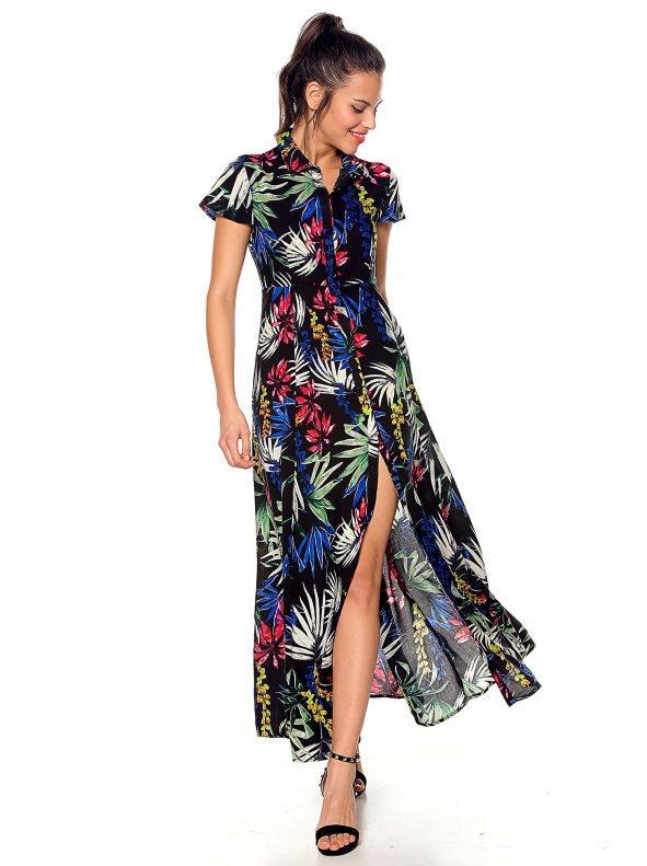 350d17c792 Vestido camisero con abertura frontal floral negro estampado 36