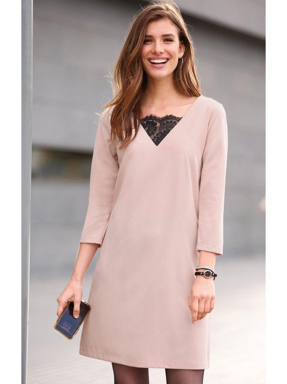 8943e5deb Vestido de manga 3 4 con pieza de encaje rosa suave xl. Venca