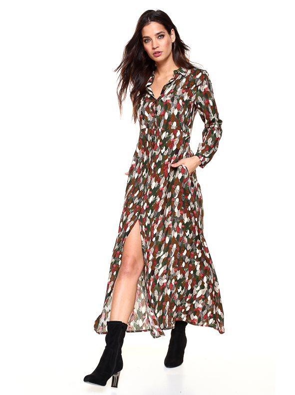 60260ad570 Vestido largo camisero estampado hojas verde estampado 38