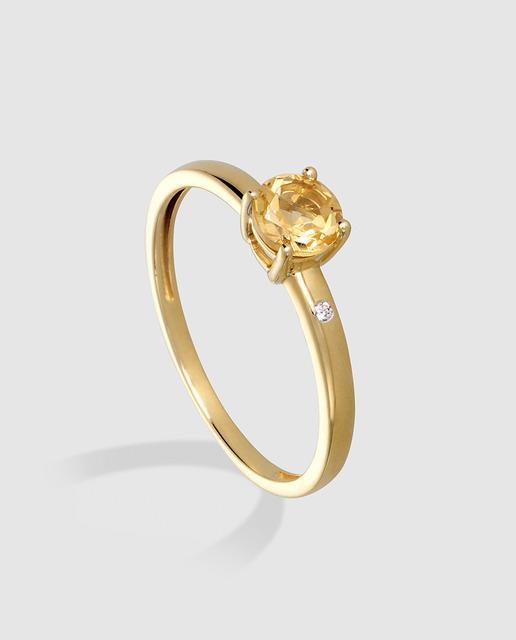 f6eaacbaf932 Anillo de oro con diamantes y citrino