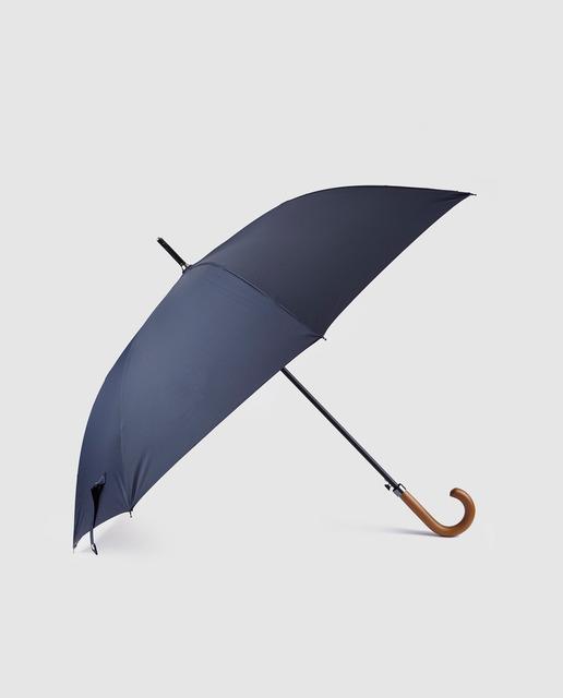 estética de lujo barato mejor valorado colores y llamativos Paraguas de hombre en azul marino con puño de madera