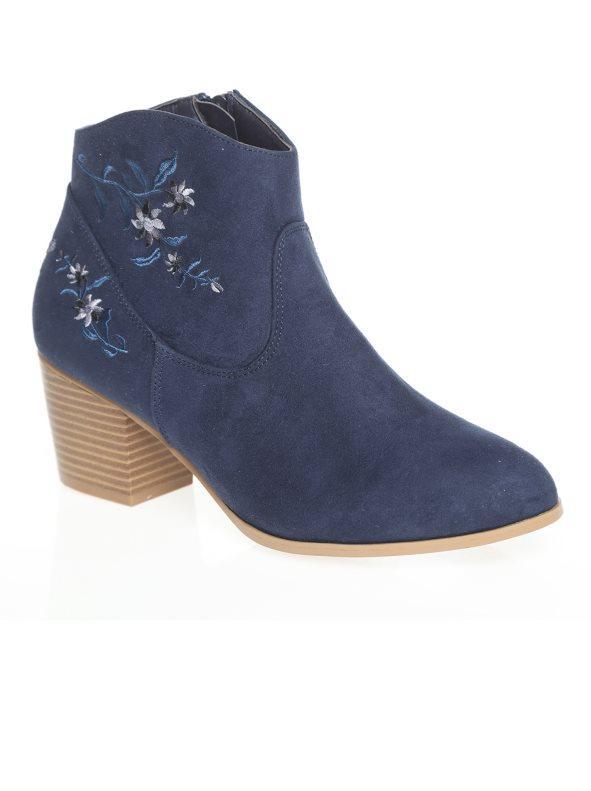 d6fd7f6104c Botines camperos con bordado floral en la caña azul 41