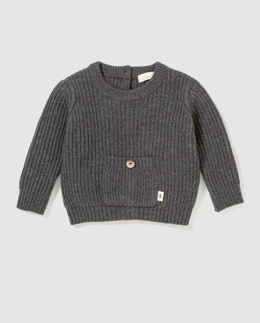Jersey de bebé en gris con bolsillo 2e534a08b50e