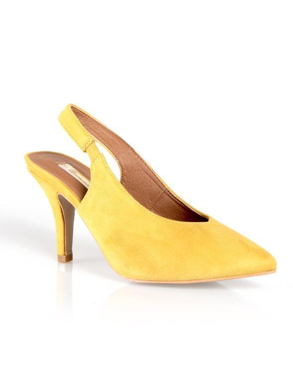 4fe37f3102f Zapatos tacón símil antelina talón descubierto amarillo 42