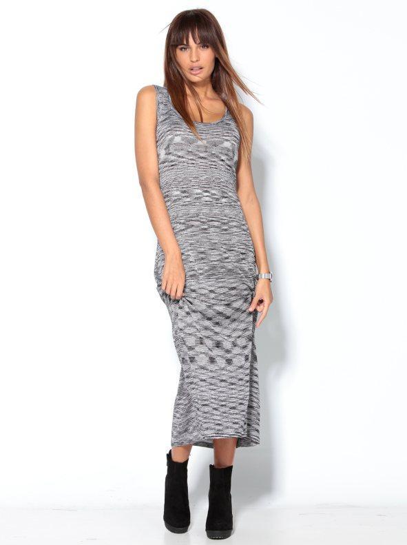 07f817b5be6 Vestido largo mujer sin mangas con hilos metalizados negro lúrex. Venca