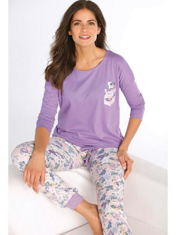 b23cbf652fd Pijama 2 piezas de camiseta y pantalón estampado estampado lila orquídea 3xl