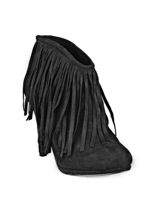 891152bfc Botines de tacón mujer con flecos en símil ante negro 40