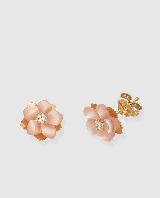79244407186c Pendientes flor de oro y cerámica