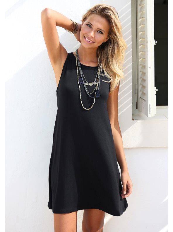 58fd11e5a4371 Vestido liso sin mangas mujer de corte evasé negro s. Venca