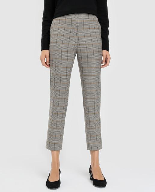 7fb7a38c0f0d Pantalón de mujer con estampado de cuadros y cintura elástica