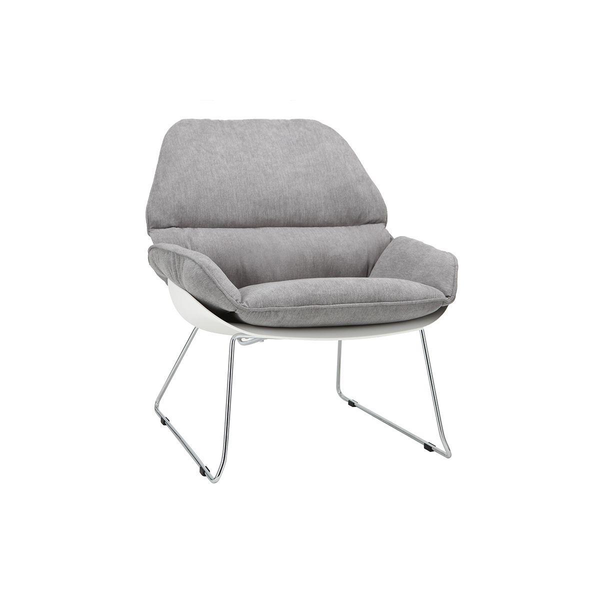 a47f98323 Sillón moderno parte exterior blanca y tejido gris kokon