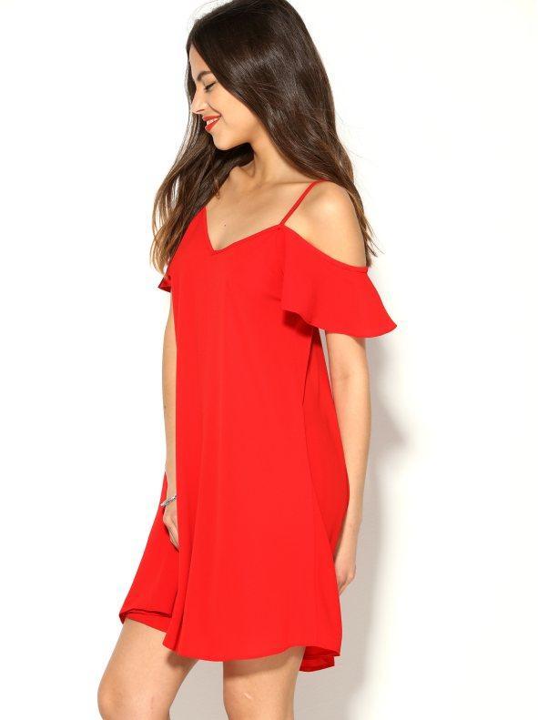 a047166396 Vestido corto mujer de tirantes con vuelo rojo 36