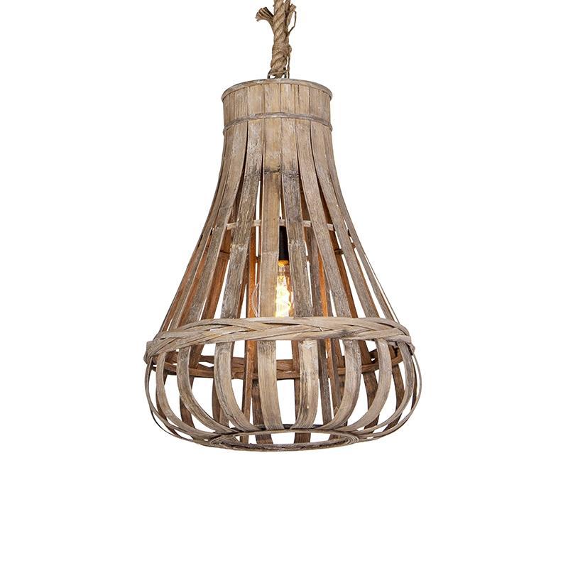 Lámpara rústica 44cm madera excalibur colgante cuerda con sxoCtQrdBh
