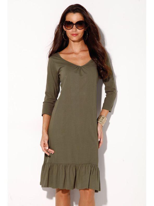 Vestido mujer en punto 100% algodón con volante caqui xl c336f146946b