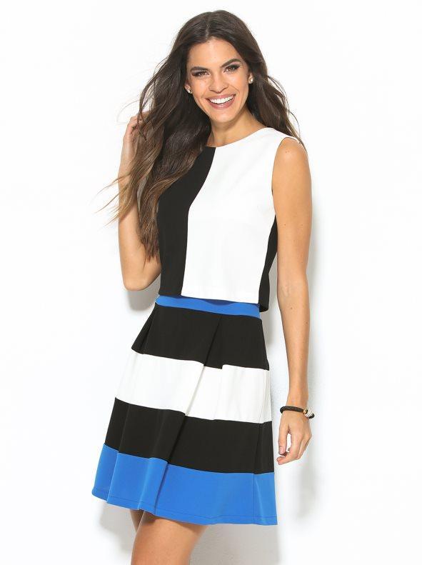 cedb547c8 Falda corta de vestir en punto de crepe elástico rayas/azul m