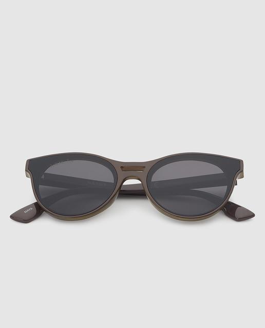Gafas de sol unisex de pasta marrones con lentes superpuestas 0bd5d0181056
