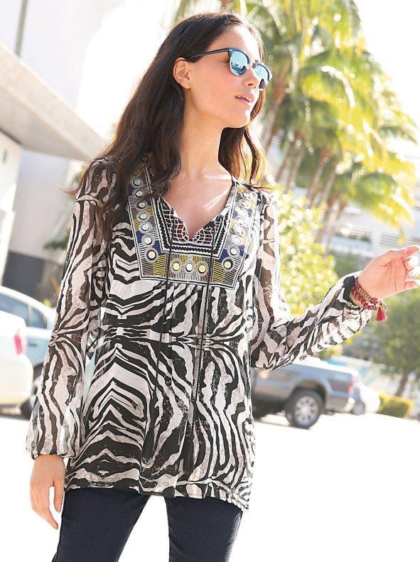003ec820ce Blusa mujer de manga larga delantero con bordado y borlas estampado l