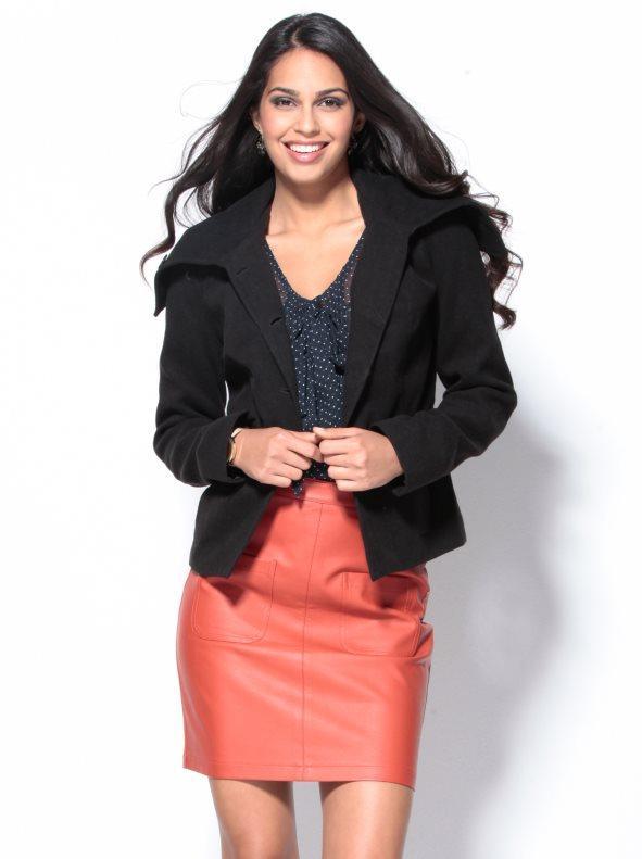 5b4f1b9d318 Chaqueta abrigo mujer cuello bufanda forrada negro 40